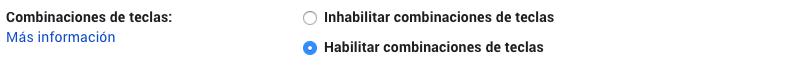 como habilitar combinaciones teclas gmail